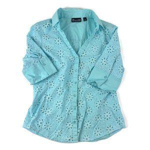 7th Avenue Womens Button Up Shirt Blue Medium
